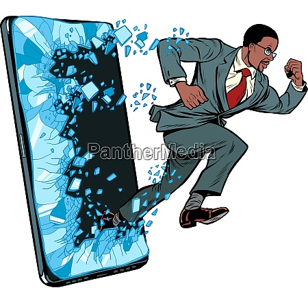 african businessman punches the screen phone