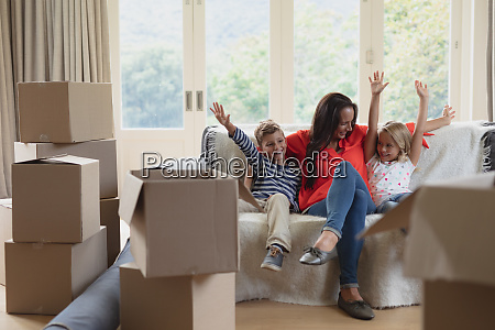 mother and children having fun in