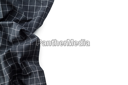 black tablecloth over white background