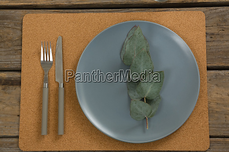 elegant table setting with leaf and