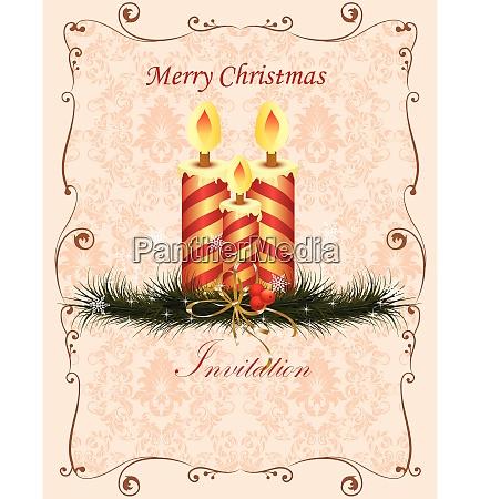 vintage christmas card with ornate elegant