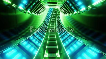 futuristic scifi train subway tunnel