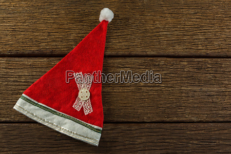 overhead view of santa hat