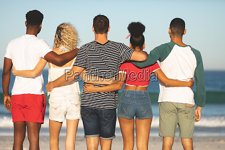 group of friends standing together on