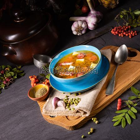 polish pea soup grochowka with smoked