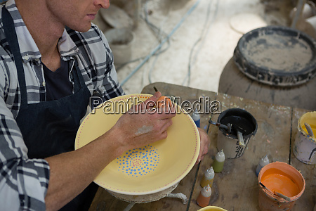 male potters painting a bowl in