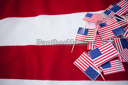 high angle view of flags