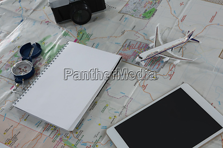 travelling accessories on map