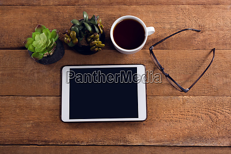 pot plant black coffee spectacles and