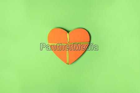 orange felt heart