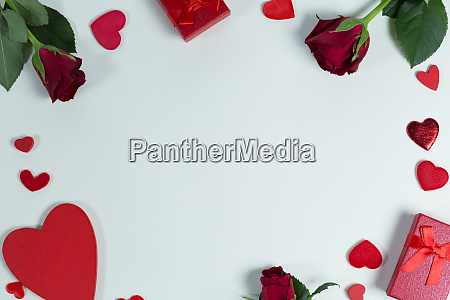 valentine gifts and decorations on white