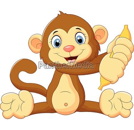 cartoon monkey holding banana fruit