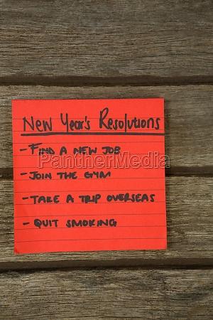 new year resolution written on sticky