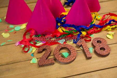 new year 2018 with party hats