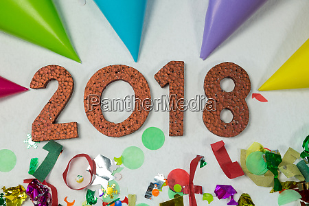 new year 2018 with party hat