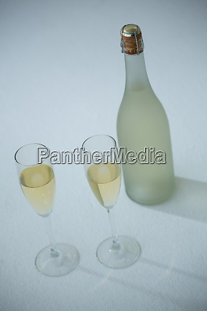 glass of champagne with champagne bottle