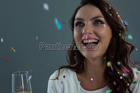 woman celebrating the new year with