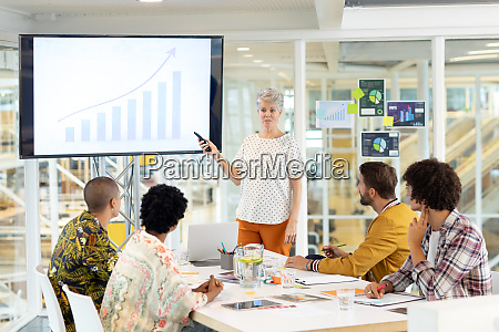 businesswoman giving presentation on screen during