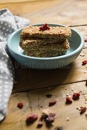 granola bar in bowl