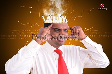 man head fill with match sticks