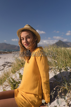 woman in hat relaxing on the