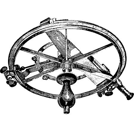 reflecting circle vintage engraving