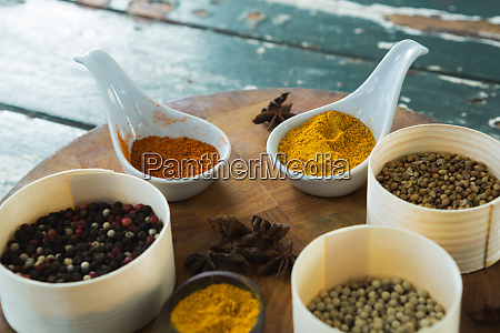 various type of spices on board