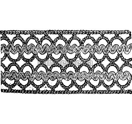 insertion in waved braid vintage engraving