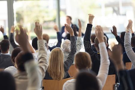 mature caucasian businesswoman doing speech and