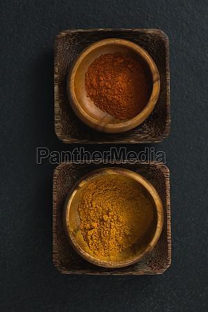 red chili powder and turmeric powder
