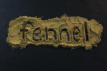 fennel powder forming text fennel on