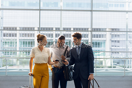diverse business colleagues travelling