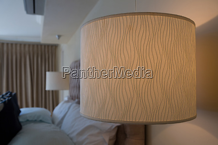 illuminated lamp in bedroom