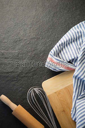 directly above of kitchen utensils with