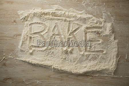 overhead view of bake text on
