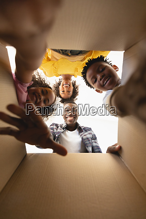 upward view of african american family
