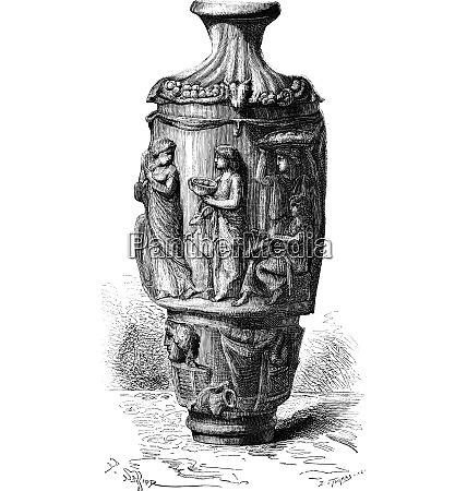 the vase of mantua vintage engraving
