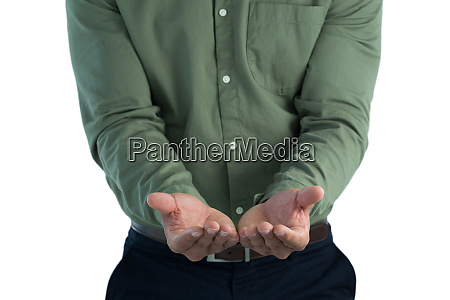 male executive pretending to hold an