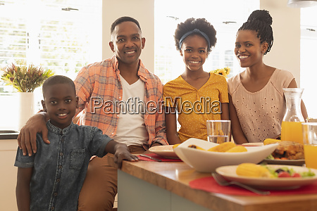 happy african american family looking at