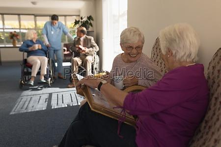 side view of senior women looking