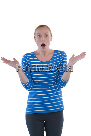 woman with shocked facial expression making
