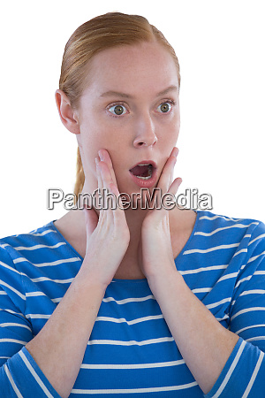 woman with shocked facial expression with