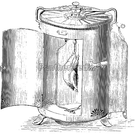 automatic roasting vintage engraving