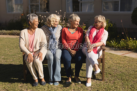 group of senior women interacting with