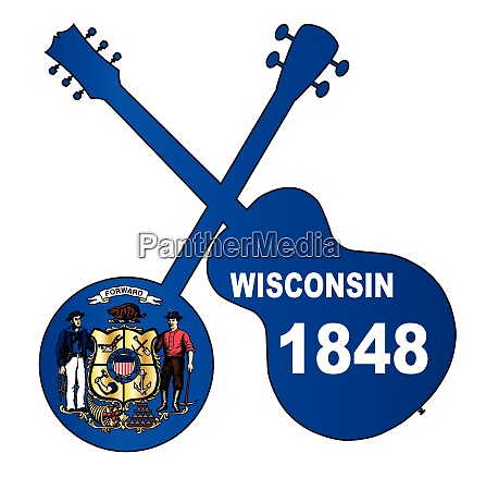 wisconsin state flag banjo and guitar