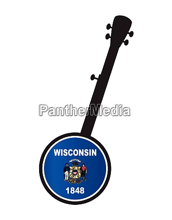 banjo silhouette with wisconsin state flag