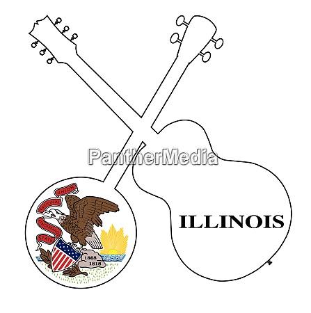 illinois state flag banjo and guitar