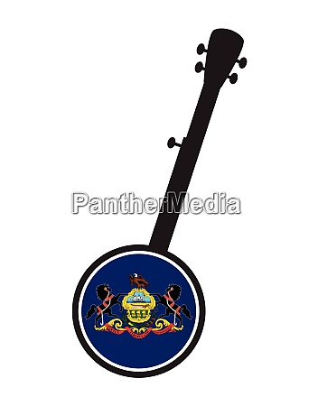 banjo silhouette with pennsylvania state flag