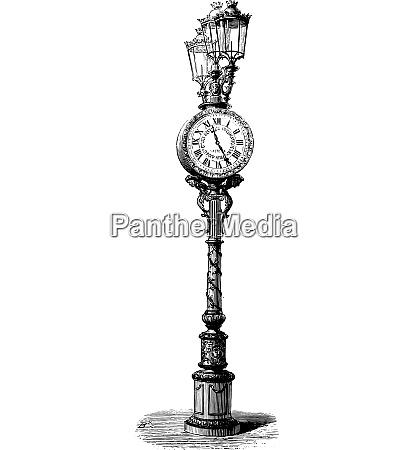 pneumatic clock in paris vintage engraving