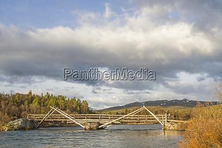 wooden bridge over the river sjoa